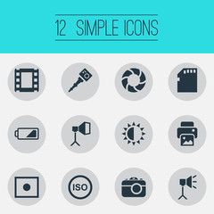 Vector Illustration Set Of Simple Photograph Icons. Elements Energy, Light Level, Movable Camcorder And Other Synonyms Objective, Charge And Card.