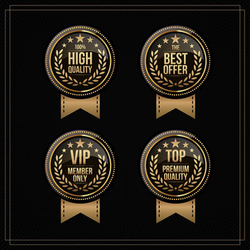 """Vector vintage badges collection """"100% high quality"""", """"the best offer"""", """"vip member only"""" and """"top premium quality"""". gold and black colour"""