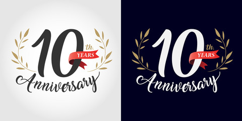 10 years anniversary number hand lettering and golden laurel wreath. Handmade calligraphy, Vintage style