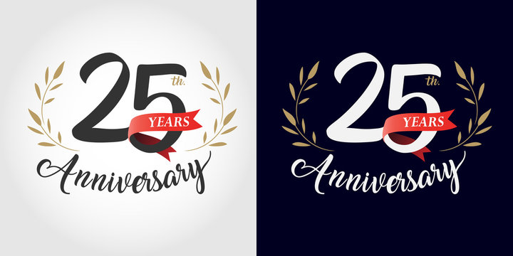 25 years anniversary number hand lettering and golden laurel wreath. Handmade calligraphy, Vintage style
