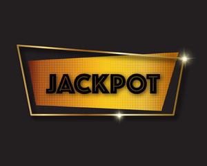 Jackpot advertising sign, vector illustration. Golden frame, pop art dots pattern, sparkles, black background.