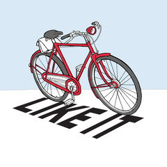 Poster with image of a bicycle. Vector illustration.