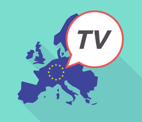 Long shadow EU map with    the text TV