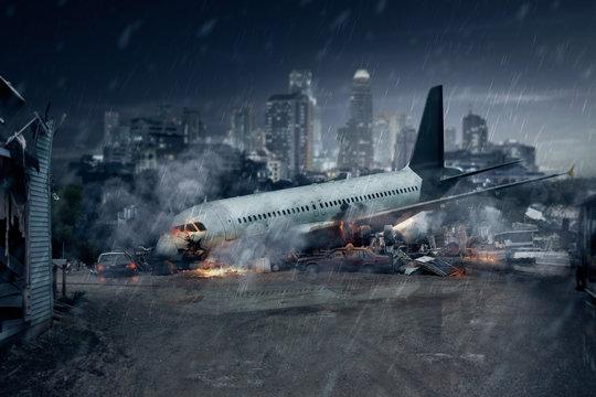 Plane crash, crashed airplane, air accident