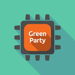 Long shadow cpu with  the text Green Party
