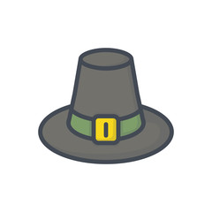 Thanksgiving day holiday colored icon piligrim hat