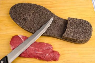 Tough beef steak
