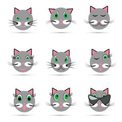 Set of nine cat emoticon, vector illustration