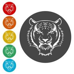 Tiger animal face icons set - Illustration