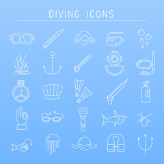 Diving icons in line style.