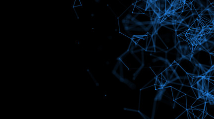 Abstract backgrounds space blue neon lights (super high resolution)