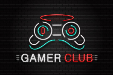 Vector isolated neon sign of controller for decoration on the wall background. Realistic neon logo for gamer club. Concept of game and computer leisure.