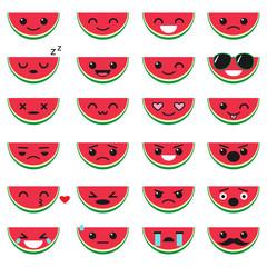 Cute watermelon emoji set