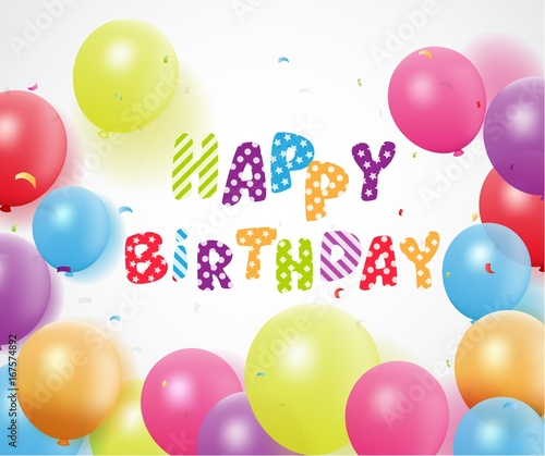 Colorful Happy Birthday Balloons Background For Party