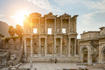Celsus Library in Ephesus and the sun with flare