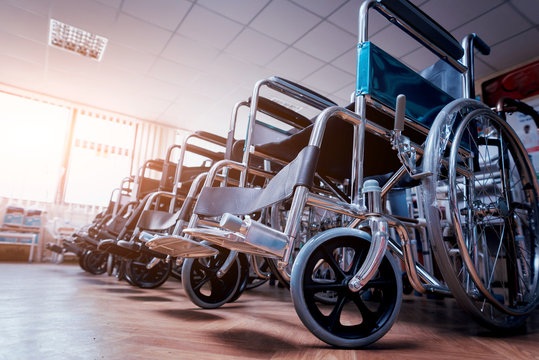 Empty wheelchairs at the hospital.