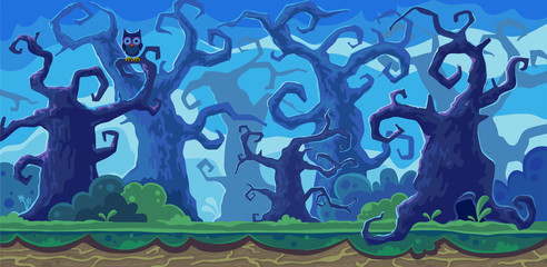 Vector cartoon illustration of the fairy forest