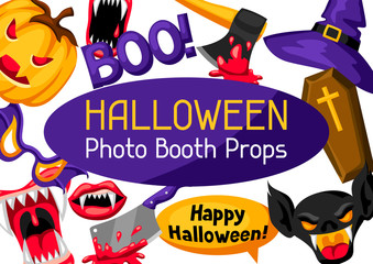 Halloween photo booth props. Accessories for festival and party