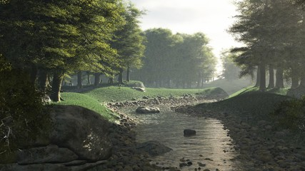 Illustration of a Rocky Stream Flowing Through a Peaceful Woodland