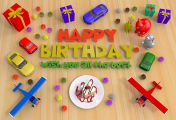 happy birthday with toys,cake and gift 3d illustration