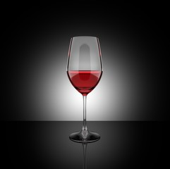 Red wine glass 3D illustration