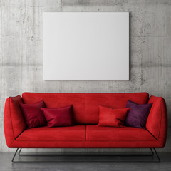 White poster on concrete wall, red sofa, 3d illustration