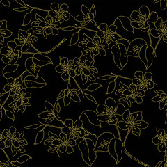 Seamless pattern with hand drawn flowers  in sketch style. With gold flowers on a black background