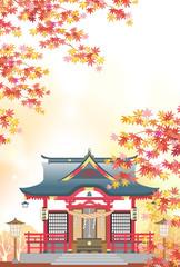 神社 秋の和の風景