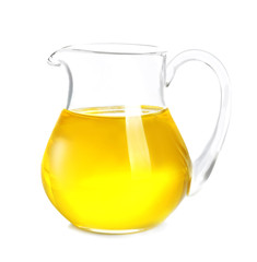 Jug of cooking oil on white background