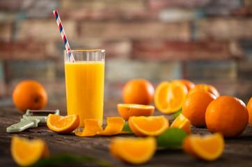 Glasses of fresh organic orange juice.