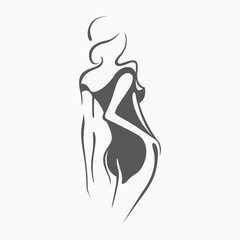 Sexy fitness figure of a girl in the evening dress. Intimate sexy lady, model in a pose. Lovely elastic ass bikini zone. Drawn graphics for design, background