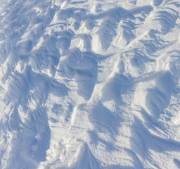 surface of the snow cover in the mountains