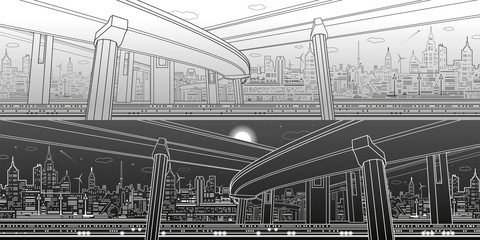 Transportation overpass bridge, urban infrastructure panorama, modern city on background, vector design art