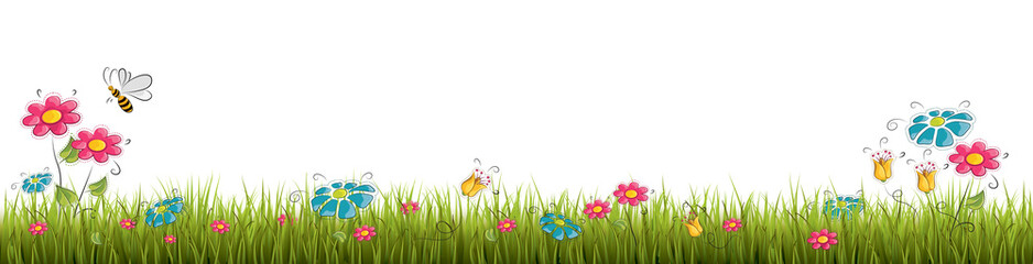 Fresh realistic green grass with red flowers - vector illustration