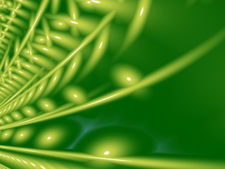 Green modern abstract fractal art with 3D effect. Unusual background illustration resembling plants. Creative graphic template, free style. For projects, layouts, designs, book covers, flyers, skins