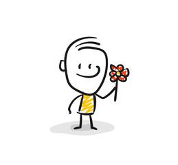 Strichfiguren / Strichmännchen: Blume, Dankeschön. (Nr. 51)