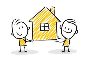Strichfiguren / Strichmännchen: Hausbesitzer, Umzug, umziehen, Wohngemeinschaft. (Nr. 57)