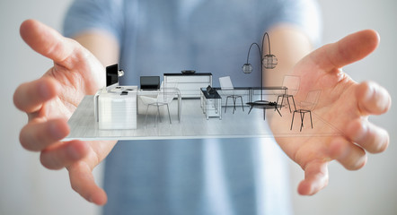 Businessman holding white 3D rendering apartment