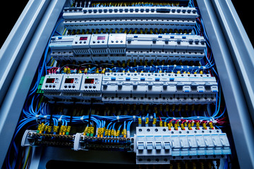 Voltage switchboard with circuit breakers.