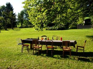 Lange Tafel mit Tischdecke und Holzstühlen auf grüner Wiese am Waldrand in Rudersau bei Rottenbuch im Kreis Weilheim-Schongau in Oberbayern