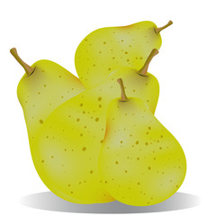 Pile of ripe pears, cartoon on a white background.Vector