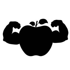 Apple biceps, strength, silhouette on white background.vector