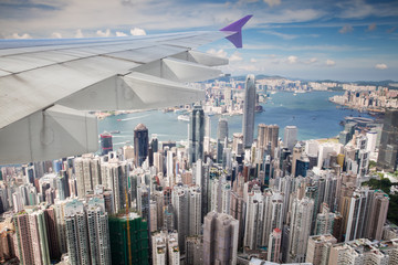 Top view of Hong kong city from airplane Fotomurales