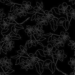 Seamless pattern with hand drawn flowers  in sketch style. With silver flowers on a black background