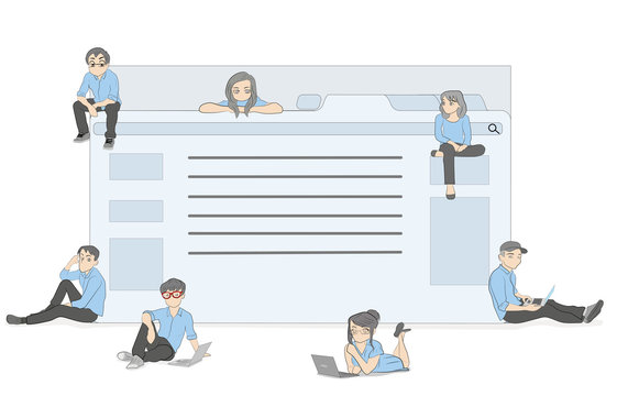 little people sitting near the site pages (browser). The concept of users and developers. vector illustration.