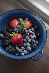 A blue colander sits on a wooden table, filled with fresh, organic, brightly colored strawberries, blueberries and blackberries, by a window.