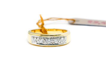 beautiful Gold ring with diamond isolated