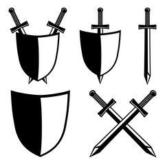 Shields and swords.