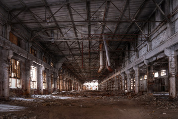 Dilapidated workshop of the abandoned factory. HDR.