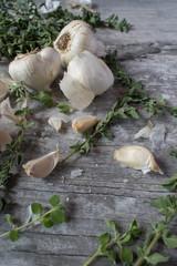 garlic and oregano closeup